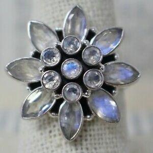 Vintage Rainbow Moonstone Sterling Silver 925 Ring